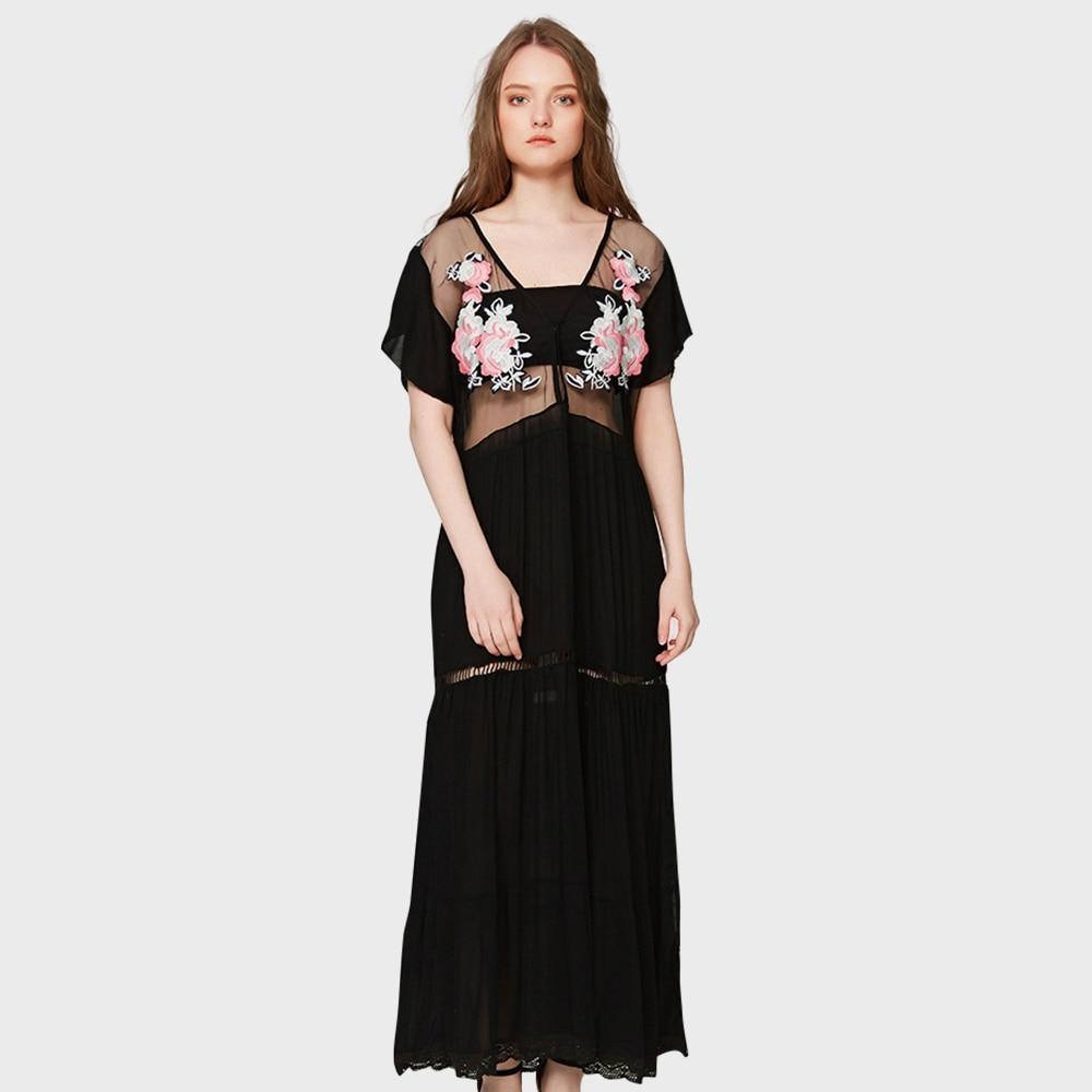 Vintage Semi pure broderie florale Maxi robe femmes été 2019 col en V évider Furcal robe rétro Boho vacances Vestido