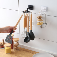 360 Degrees Rotated Kitchen Hooks Self Adhesive 6 Hooks Home Wall Door Hook Handbag Clothes Ties Bag Hanger Hanging Rack