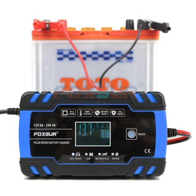 Foxsur 12V 24V Lood zuur Agm Gel Nat Efb Auto Motorfiets Acculader, Smart Battery Charger, puls Reparatie Batterij Oplader