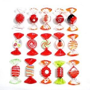 Image 2 - Decoração de mesa artesanal de murano, doces de vidro vermelho, arte pop, ornamentos de natal, decoração de mesa, 15 peças presentes de mesa, lembranças de festa