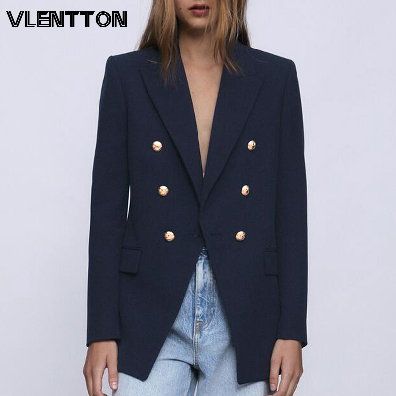 Spring Autumn Women Fashion Vintage Blazers Coat Chic Button Solid Suit Jackets Female Outwear Tops Office Lady Blazer Feminino