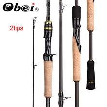 Obei elf fundição fiação pesca rod1.8 2.1 2.4m m/mh viagem isca de rua dicas duplas haste de pesca rápida vara