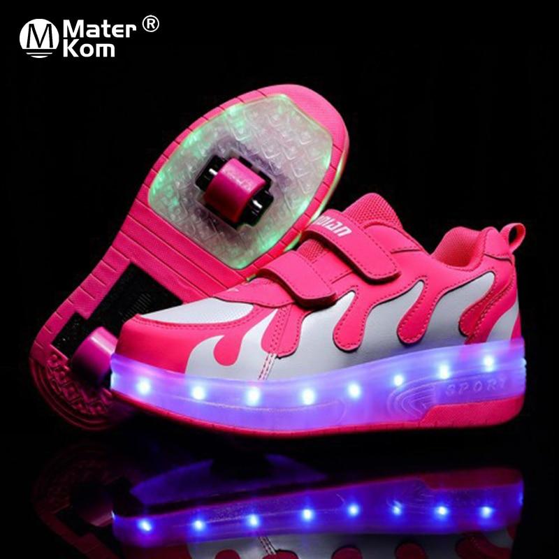 Baskets lumineuses à roulettes taille 28-42   Chaussures de Skate lumineuses à Double roue pour enfants filles avec chargeur USB, chaussures de Skate lumineuses pour enfants