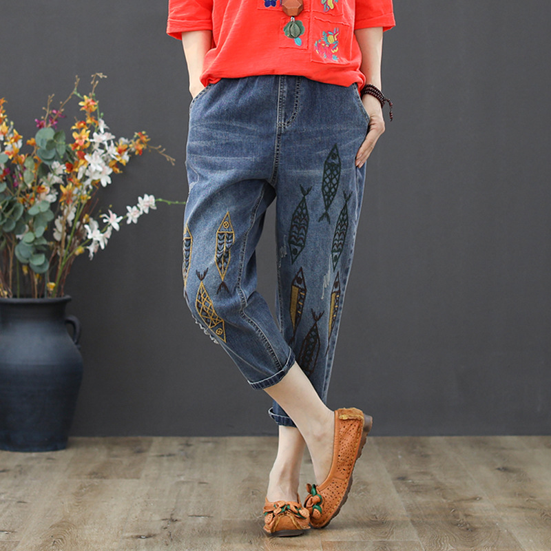 Spring New Style Literature And Art Retro Elastic High-waisted Capri Jeans Women's Loose-Fit Casual Embroidered Frayed Harem Sli