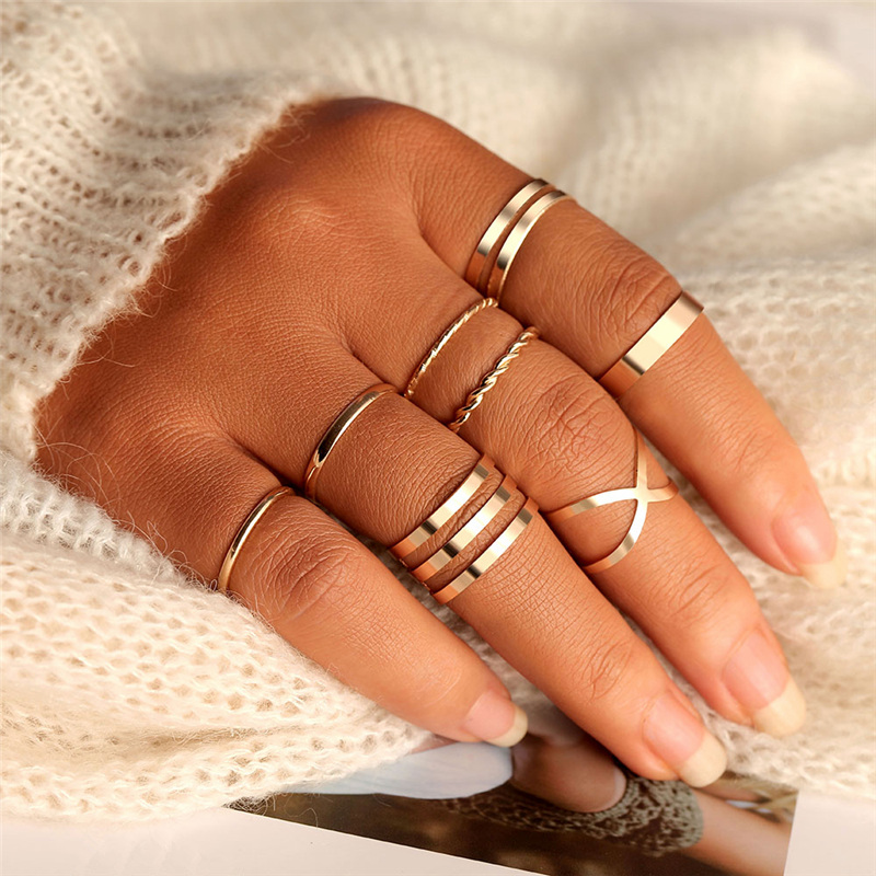 Original Design Gold Color Round Hollow Geometric Rings Set For Women Fashion Cross Twist Open Ring Joint Ring Female Jewelry(China)