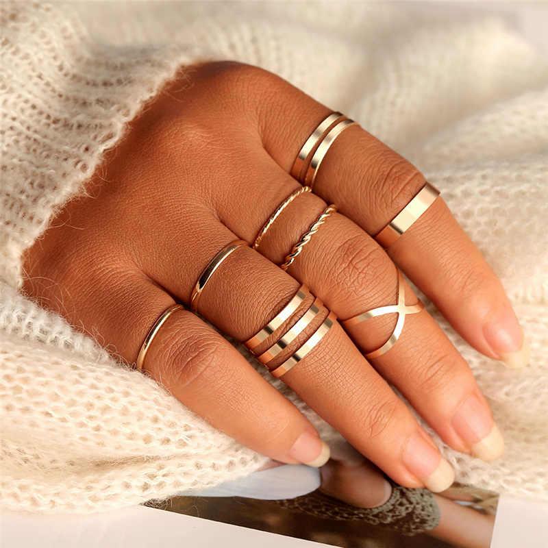 Originele Ontwerp Goud Kleur Ronde Hollow Geometrische Ringen Set Voor Vrouwen Mode Cross Twist Open Ring Joint Ring Vrouwelijke Sieraden