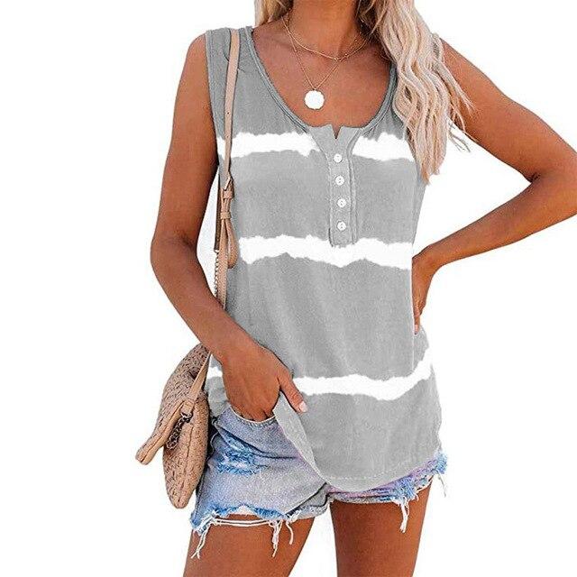 Sleeveless Tie-dye Cotton T Shirt 2