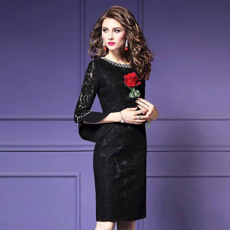 Moda Feminina Elegante Beading Rendas Vestido de Festa Fêmea Do Vintage de Alta Qualidade Designer De Robe Femme Office Party Lápis Vestidos