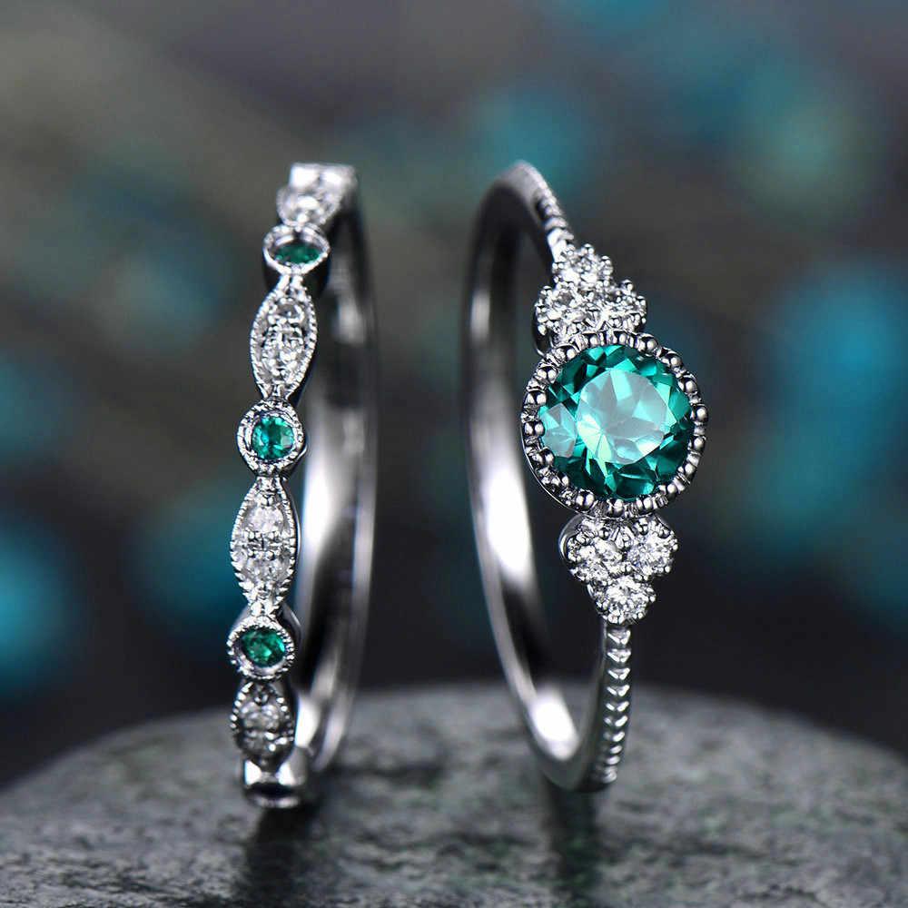 2 ชิ้น/เซ็ตแหวน 2019 ใหม่หรูหราสีเขียวหินสีฟ้าคริสตัลแหวนผู้หญิง Sliver สีงานแต่งงานแฟชั่นเครื่องประดับ