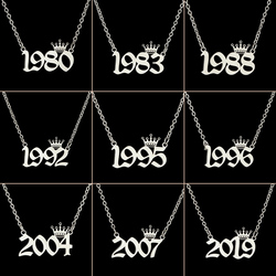 Stainless Steel Year Number Necklaces for Women Unique Design Birthday Tiaras Crown Year 1984 1994 1996 2002 Choker Gift Kids