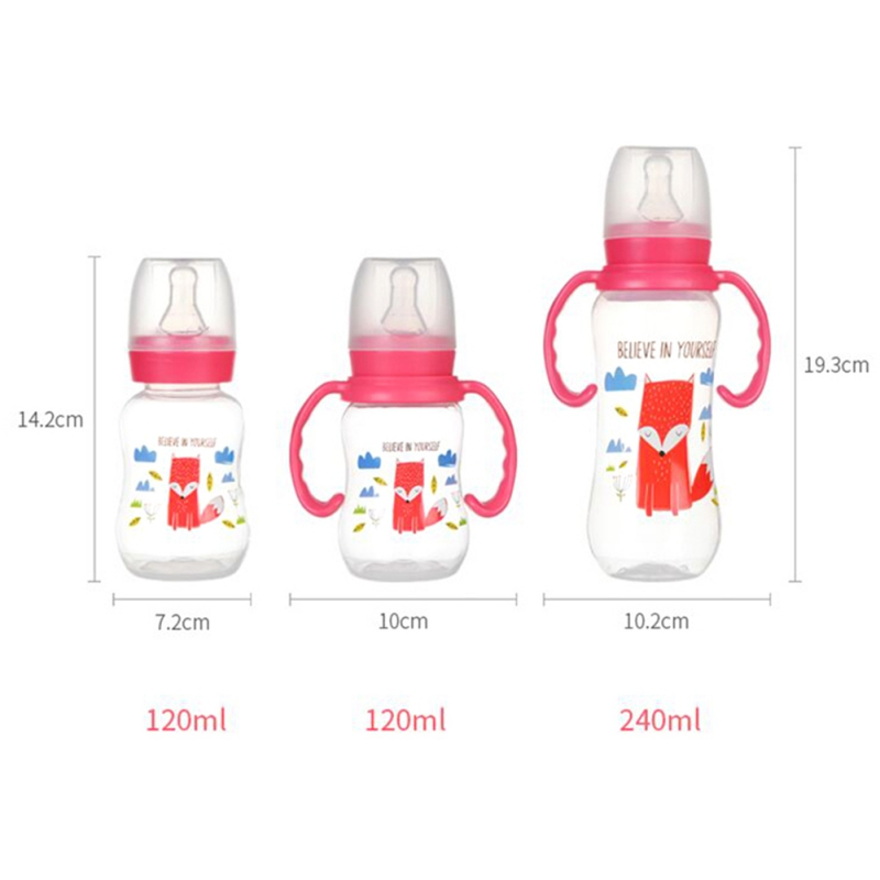 240ml Infant Baby Silicone Milk Feeding Bottles With Handle Gift Infant Drinking Water Bottle Kids Cup