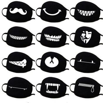 Funny Cartoon Bear Face Mask Kpop Anime Masque Lavable Washable Black Cloth Mask Reusable