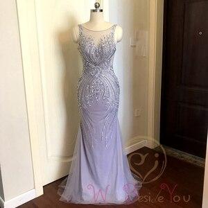 Image 3 - Lavender Evening Dresses 2020 Mermaid Sleeveless Long Formal Dress Women Elegant Beaded Crystal Sheer Neck Sweep Train Prom Gown
