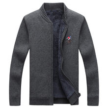 Solid Knitwear Winter Warm Clothing cashmere Sweater Men Casual Thicken Zipper Cardigan Sweaters(China)