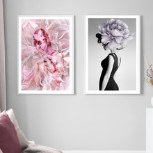 Abstract Body Art Flower Fashion Sexy Women Nordic Posters And Prints Wall Art Canvas Painting Wall Pictures For Living Room(China)
