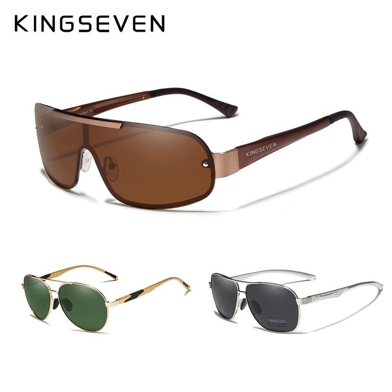 3 pçs venda combinada kingseven marca design óculos de sol homem polarizado lente marrom proteção uv