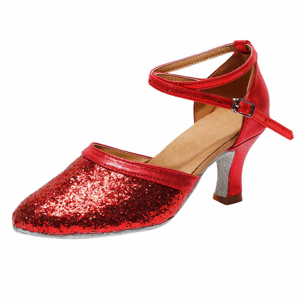 สตรีแฟชั่น Waltz โมเดิร์นรองเท้าเต้นรำบอลรูมเต้นรำรองเท้าแตะด้านล่างนุ่ม Heeled Salsa รองเท้าแตะ Salsa รองเท้าเต้นรำละติน