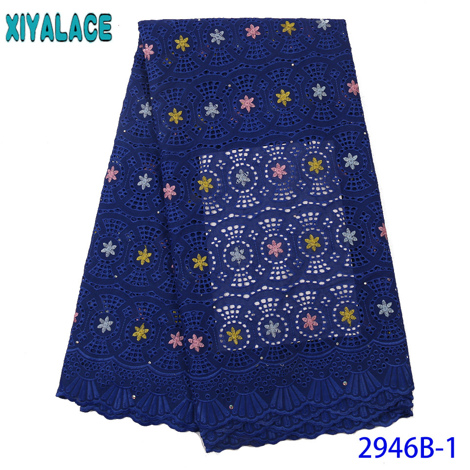 Latest Swiss Voile Lace 2019 African Lace Fabric Tissue Cotton Nigerian Lace Fabrics For Wedding Party Royal Blue KS2946B-1