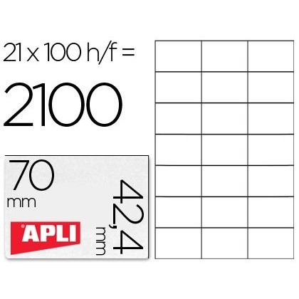 ADHESIVE LABEL APLI 1276 SIZE 70X42,4 MMMM FOR LASER COPIER INK-JET BOX WITH 100 SHEETS DIN A4