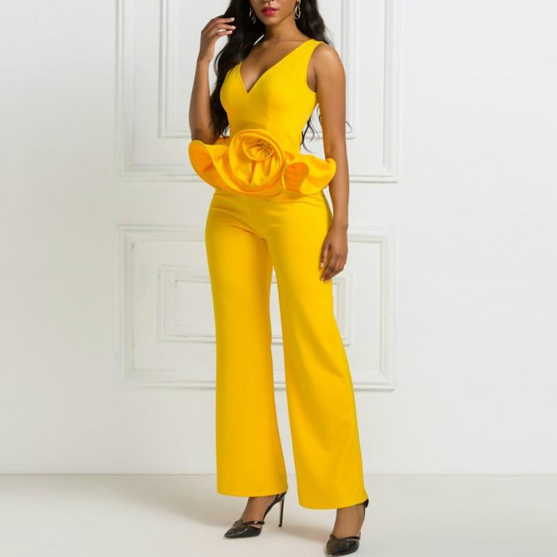 Yellow Jumpsuits Deep V Neck Flower Ruffles Sleeveless Sexy Women Spring Summer Overall Slim Bodysuit Female 2020 Plus Size XXL