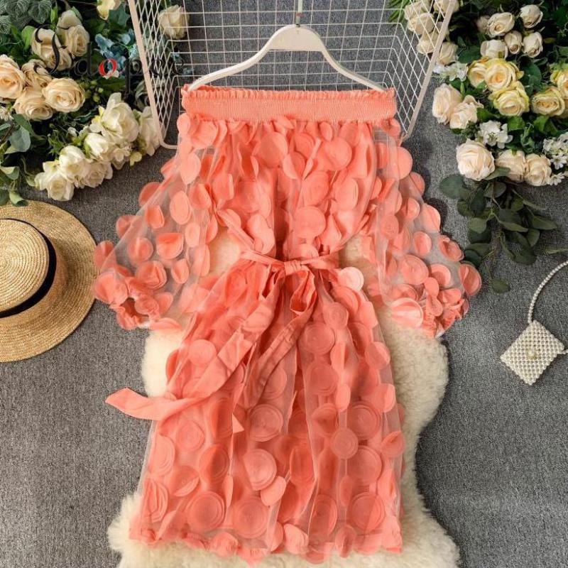 Dress Women Fashion Dimensional Flower Bubble Sleeve Three Quarter Closing Waist Slash Neck Elegant Dress Solid Color Vestidos