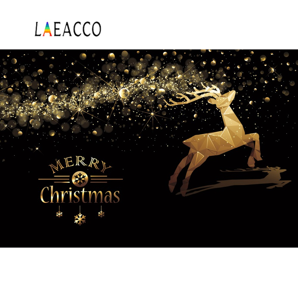 Laeacco Photographic Backgrounds Reindeer Christmas Dark Polka Dots Crystal Poster Photocall Photo Backdrops For Studio