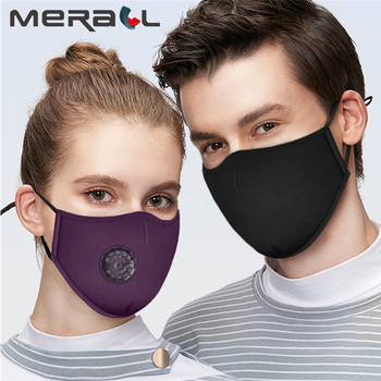 1pcs Fashion Respirator Protective Mask With Breathing Valve Washable Cotton + 12pcs Activated Carbon Filter PM2.5 Mouth Masks