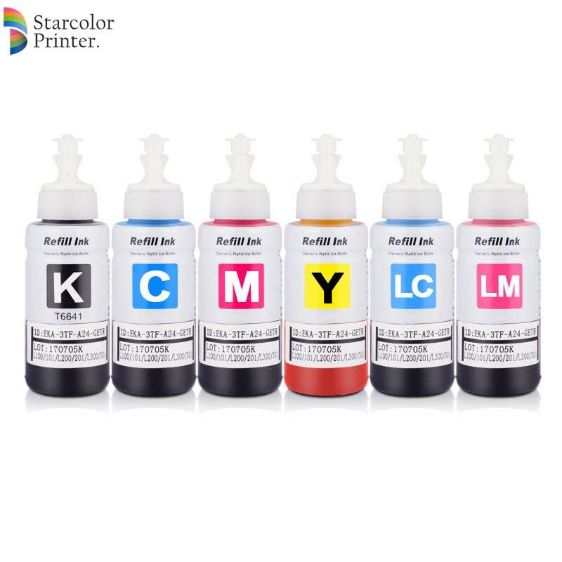Universal Dye Ink For Epson L800 L801 L810 L1300 L1800 Printer T6731-T6736 Refill Dye Ink Kit For Epson Printer (BK C M Y LC LM)