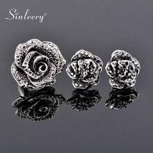 Ring-Set Vintage Jewelry Wedding-Party-Accessories Crystal Luxury Flower SINLEERY Women