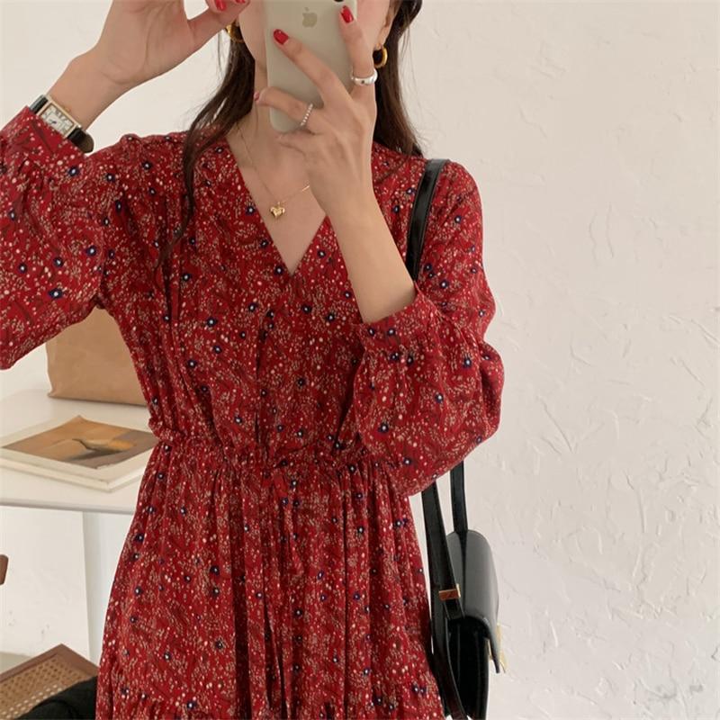 Hbaa37d3e21264a058150c412eda3f9095 - Autumn V-Neck Lantern Sleeves Waist-Controlled Floral Print Midi Dress