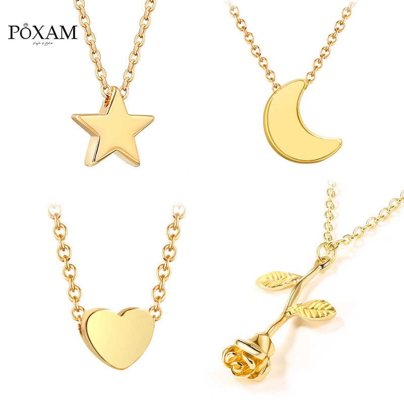 POXAM 2019 Горячая Мода сексуальная ключица Золото Серебро ожерелья для женщин геометрические Fower Луна Звезда подвесная цепь колье ювелирные изделия