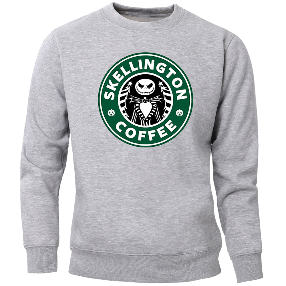 Jack Lentern Skull Sweatshirts Men Coffee The Nightmare Halloween Hip Hop Crewneck Sweatshirt Hoodie Winter Autumn Streetwear