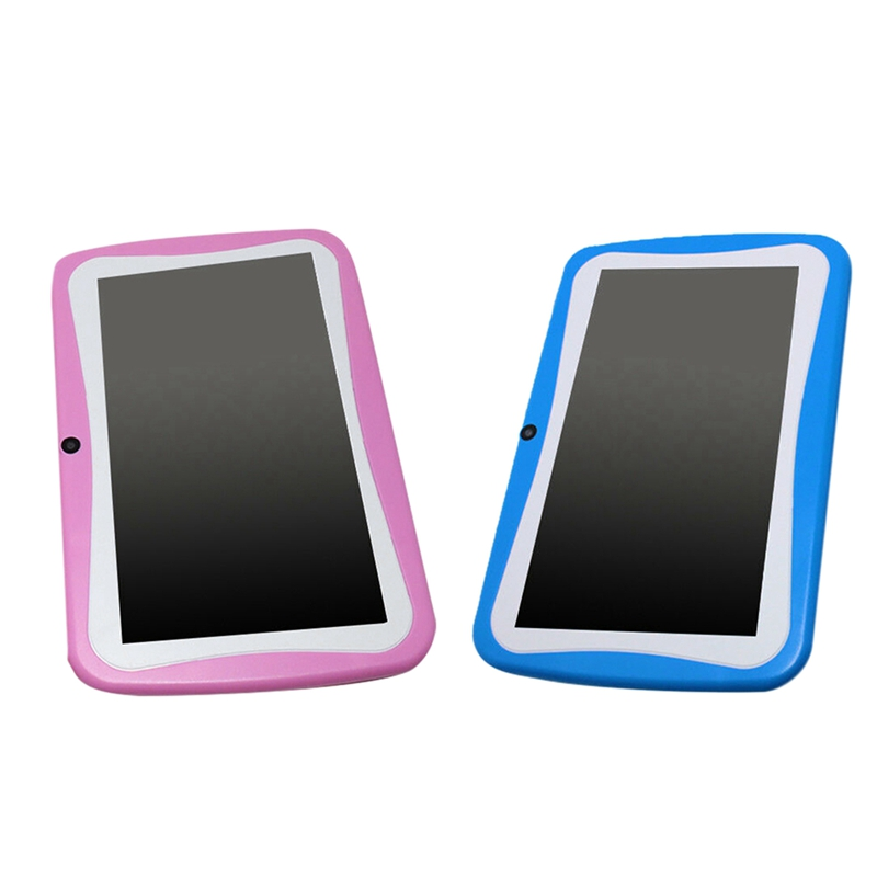 2 Pcs 7 Inch Kids Tablet Android Dual Camera WiFi Education Game Gift For Boys Girls US Plug, Pink & Blue