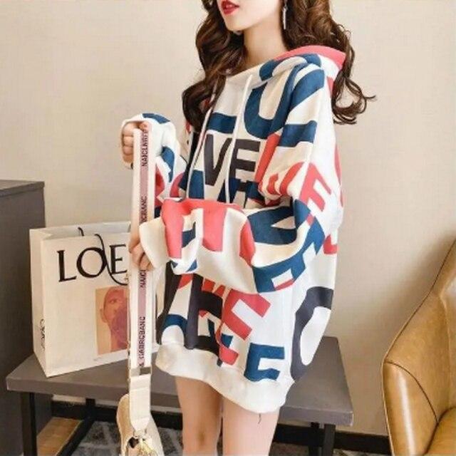 QRWR Korean Women Hoodie Sweatshirts 2020 Winter Casual Fleece Oversized Hoodies Loose Letter Printing Thicken Hoodies for Girls 3