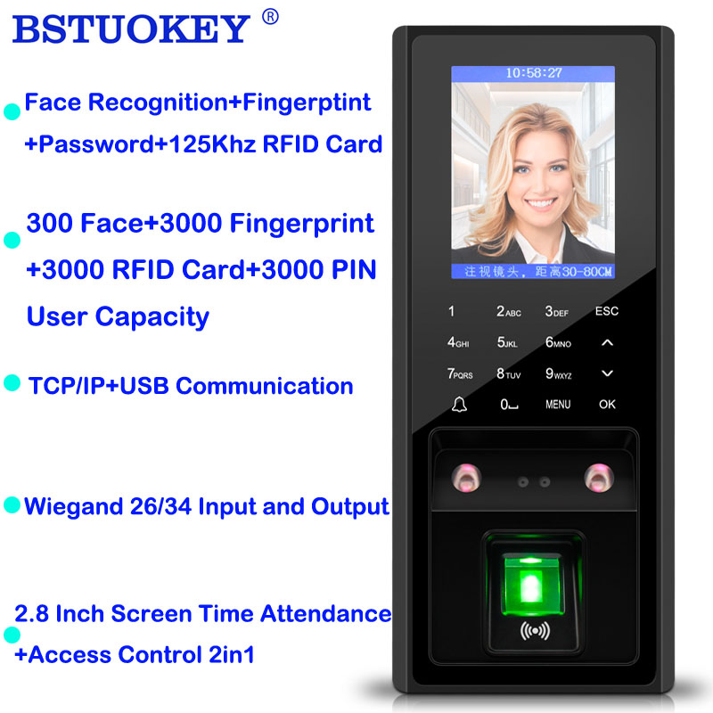 2.8 inch LCD TCP/Ip USB Biometric Fingerprint Face Access Control System Time Clock 125khz Rfid 300 Face 3000 Figner Card User