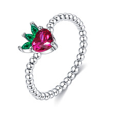 ZEMIOR Fruits Shape Ring For Women 925 Sterling Silver Lovely Little Strawberry Zircon Ring Beads Style Wedding Fingers Jewelry