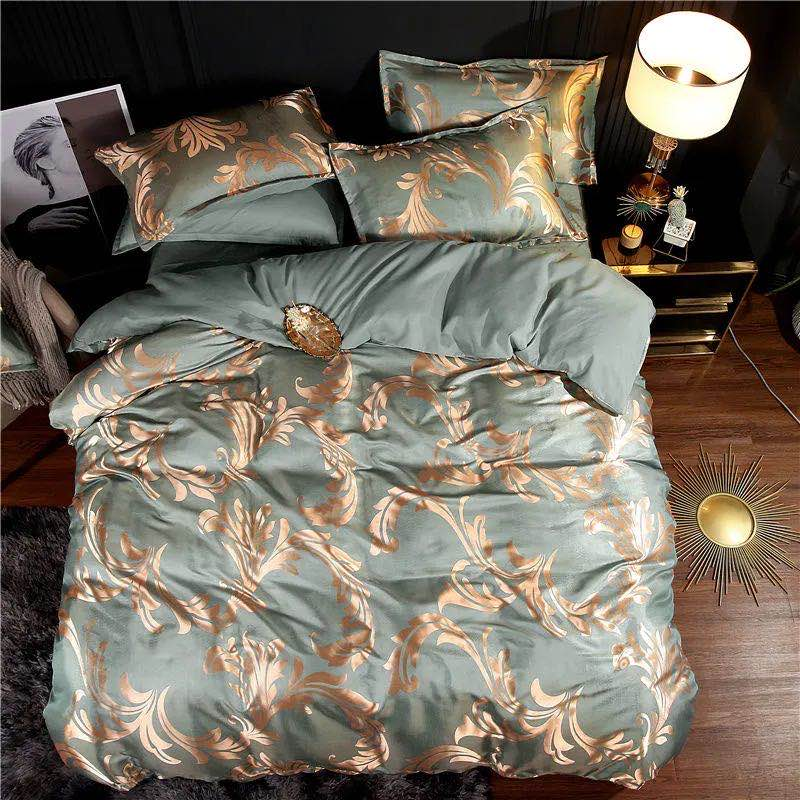 Summer Bedding 4pcs Bedroom Queen Bed Cover Set Polyester Printed Quilt Comfortable Queen Size Quilt Cover Bed Cover Pillowcase 5