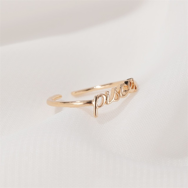 Minimalist thin Open Gold 12 Star Signs Finger Rings Birthday Friendship Jewelry Gift  Personality Custom Zodiac Rings For Women 5
