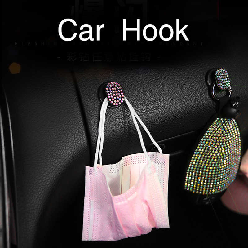 Bling Car Seat Hooks MTGOCHA Universal Car BackSeat Headrest Hangers Rhinestones Car Hangers Organizer Durable Auto Car Purse Hooks for Handbag Clothes Hat Grocery 4 Pack Black