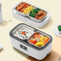 220V Multi function Electric Thermal Insulation Box Portable Steam Heating Double Stainless Steel Inner Rice Cooker Office