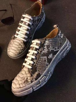 Zapatillas de deporte para hombre, de piel de pitón auténtica, a la moda, planas, con forro de vaca, color beige, piel de pitón original