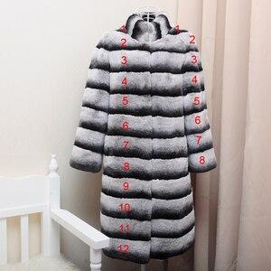 Image 5 - OFTBUY Chaqueta de invierno de lujo para mujer, abrigo de piel Real, prendas de vestir de piel de conejo Rex Natural a rayas gruesas y cálidas con cuello levantado, ropa de calle 2020