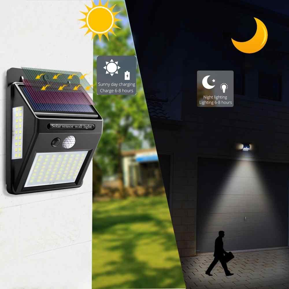 Luz de pared al aire libre 100 LEDS nuevas lámparas solares PIR Sensor de movimiento detección de movimiento impermeable lámpara de pared luces foco led exterior