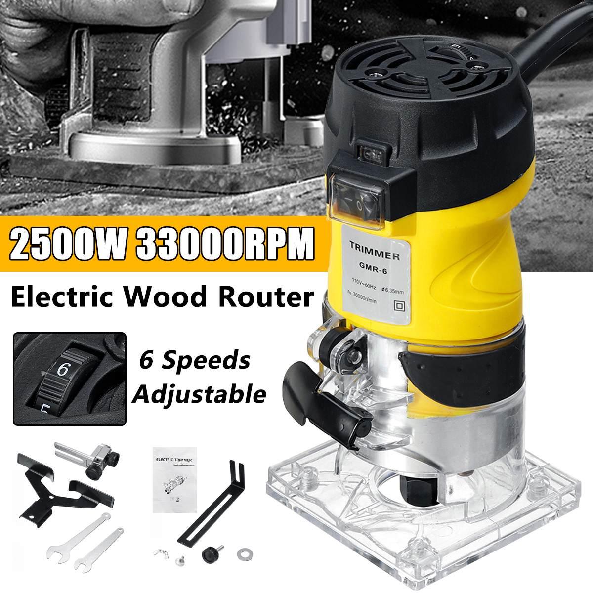 Nouveau 2200W électrique main tondeuse bois routeur 6.35mm bois plastifieuse menuiserie coupe découpage Machine outil électrique