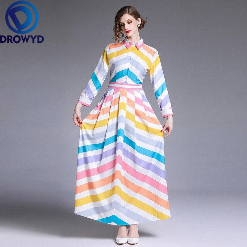 Autumn Boho Striped Maxi Dress for Women Casual Chiffon Multicolor Thin Long Sleeve Fashion Elegant Club Party Dresses Vestidos