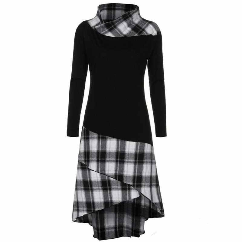 2019 женское клетчатое платье с длинным рукавом винтажные платья женское ретро лоскутное платье тонкое женское