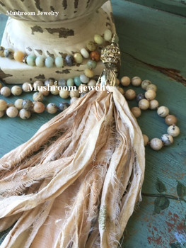 Amazonite Stone Bead statement necklace African Opal Bead Long Necklace Style Necklace