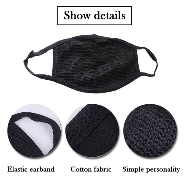 Cotton Black Mouth Mask Anti Dust Mask Activated Carbon Filter Windproof Mouth-muffle Bacteria Proof Flu Face Masks Tool 4