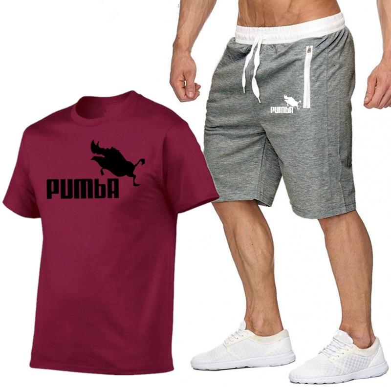 PUMBA Brand Sets Summer Men T Shirts+pants Sets Hot Sale Cotton Comfortable Short Sleeve Tshirt Men Casual Sport Set Shorts