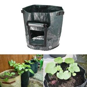 Image 1 - Темно зеленая Цветочная сумка садовый фрукт растение пакеты для картошки клубника мешок Spuds плетеная ткань овощной мешок плантатор